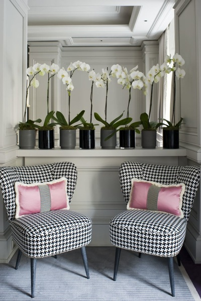 Studded houndstooth chairs along with all the furniture and lamps