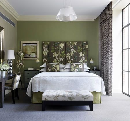 this amazing suite at the crosby street hotels glamorous sophisticated shade of green and - Elle Decor Bedrooms