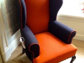 Color Blocking a Wing Chair at London's Dorset Hotel
